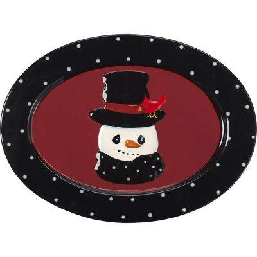 13 in. W Snowman Serving Platter
