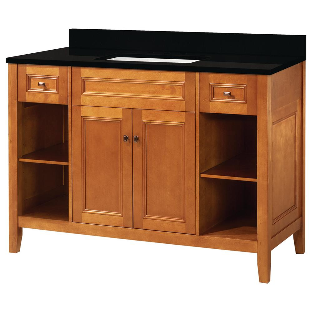 Home Decorators Collection Exhibit 49 in. W x 22 in. D Vanity in Rich Cinnamon with Granite Vanity Top in Midnight Black with Trough White Basin was $1099.0 now $659.4 (40.0% off)
