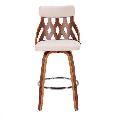 York 26 in. Walnut and Cream Swivel Counter Stool