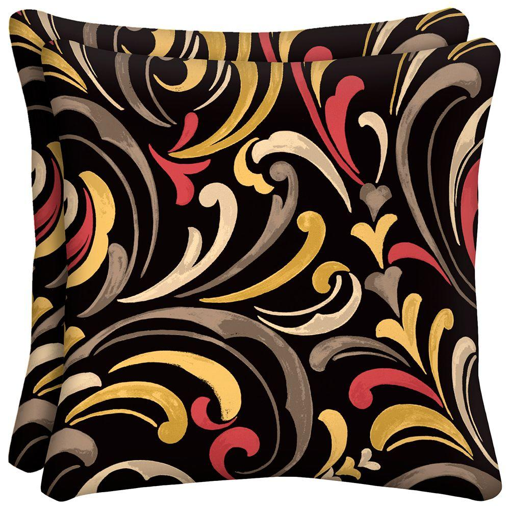 hampton bay Hawthorne Scroll Outdoor Throw Pillow (2-Pack)