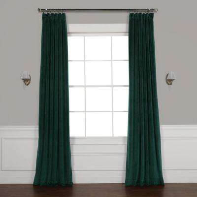 Forestry Green Heritage Plush Velvet Curtain - 50 in. W x 84 in. L