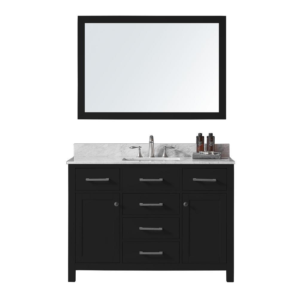 Colette 48 in w x 22 in d x 34 2 in h bath vanity in espresso w marble vanity top in white w white basin mirror