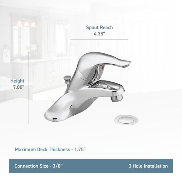 Moen Chateau 4 In Centerset Single Handle Low Arc Bathroom Faucet With Metal Drain Assembly In Chrome 3 8 Compression L4625 The Home Depot
