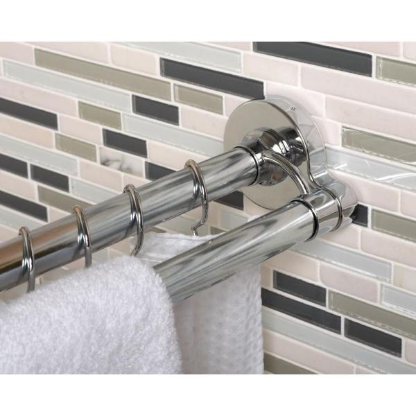 Neverrust 44 In 72 In Aluminum Adjustable Tension No Tools Double Shower Rod In Chrome 36602ss The Home Depot