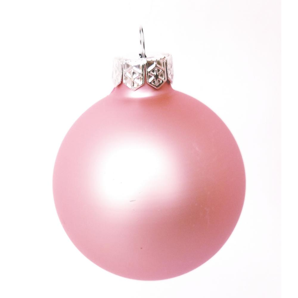 Whitehurst 2 In Baby Pink Matte Glass Christmas Ornaments 28 Pack 28752 The Home Depot