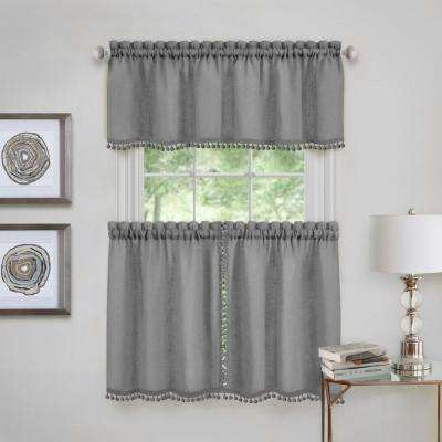 Wallace Polyester Tier and Valance Curtain Set in Grey - 58 in. W x 36 in. L