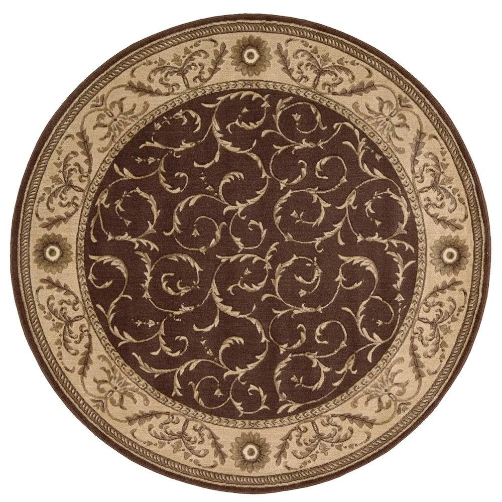 Nourison Somerset Brown 6 Ft Round Area Rug 047885 The Home Depot