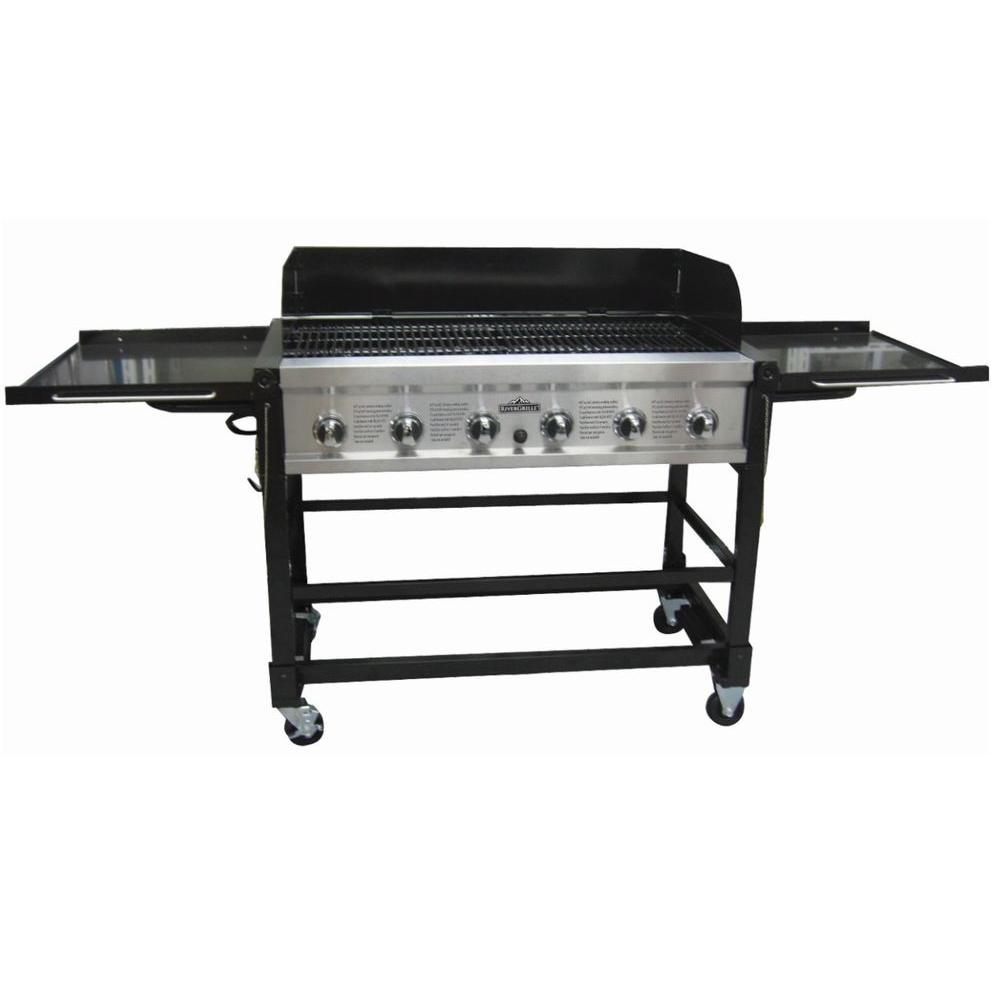 Rivergrille chuck wagon 6 burner event propane gas grill gr2045401 rg the home depot - Home depot bbq propane ...