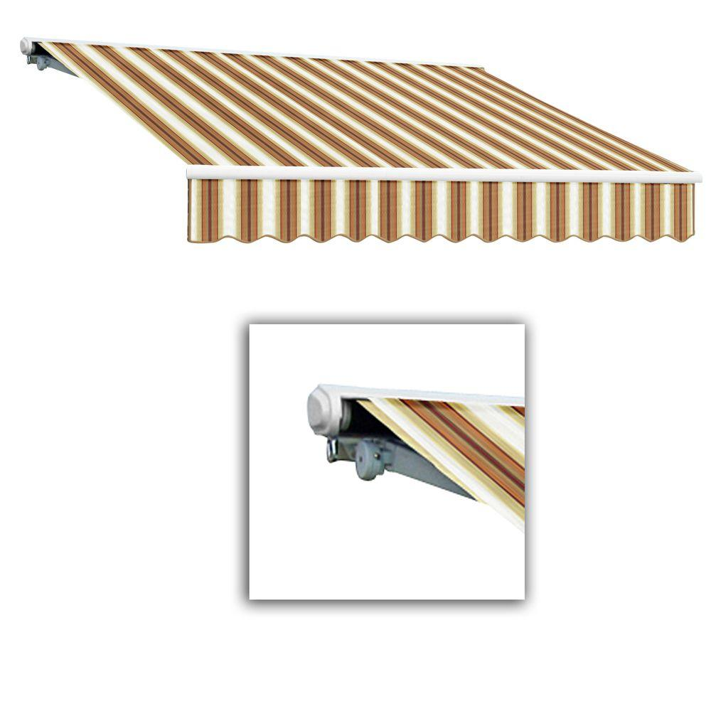 AWNTECH 24 ft. Galveston Semi-Cassette Left Motor with Remote Retractable Awning (120 in. Projection) in Tan/Terra/White