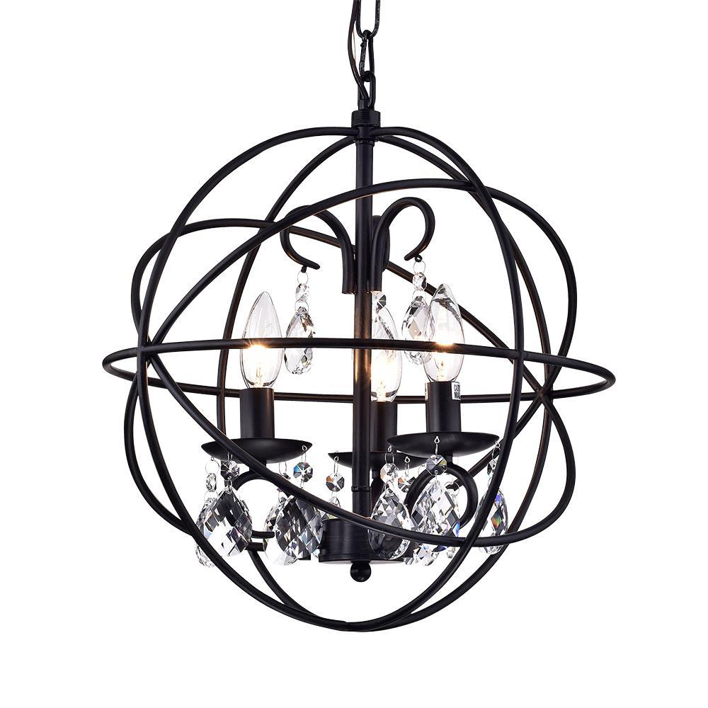 Warehouse Of Tiffany Lijane 3 Light Crystal Black Globe