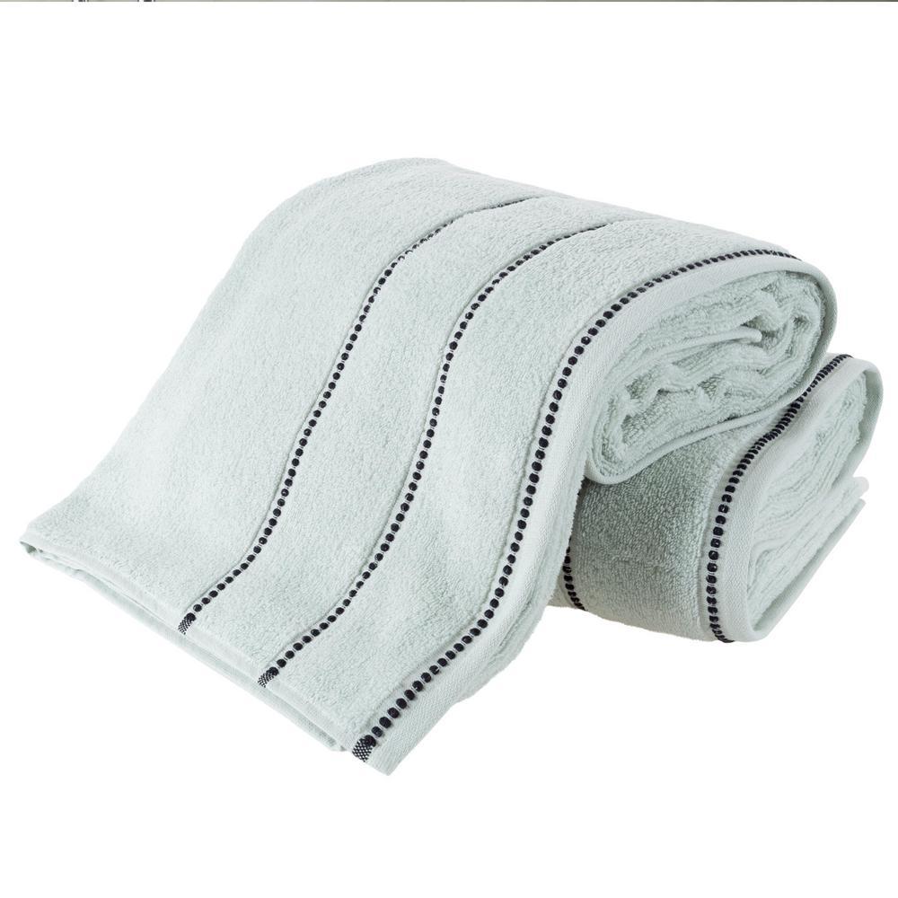 100% Zero Twist Cotton Bath Sheet Set in Seafoam and Black (2-Piece)