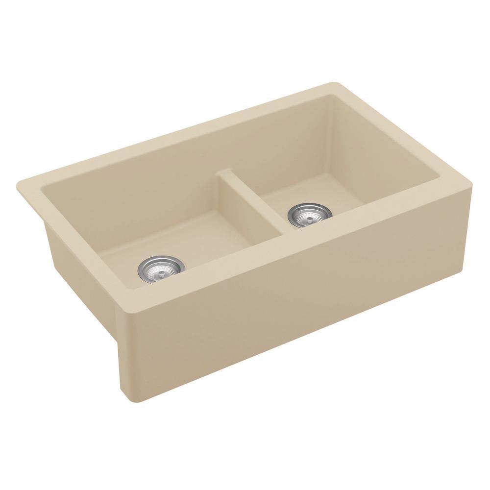 Farmhouse/Apron-Front Quartz Composite 34 in. Double Offset Bowl Kitchen Sink in Bisque