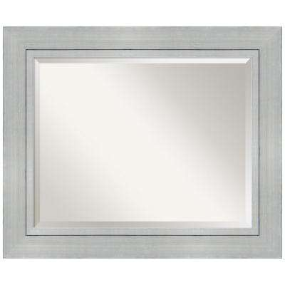 Romano Burnished Silver Wood 35 in. W x 29 in. H Single Contemporary Bathroom Vanity Mirror