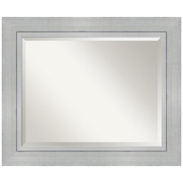 Romano 35 in. W x 29 in. H Framed Rectangular Beveled Edge Bathroom Vanity Mirror in Burnished Silver