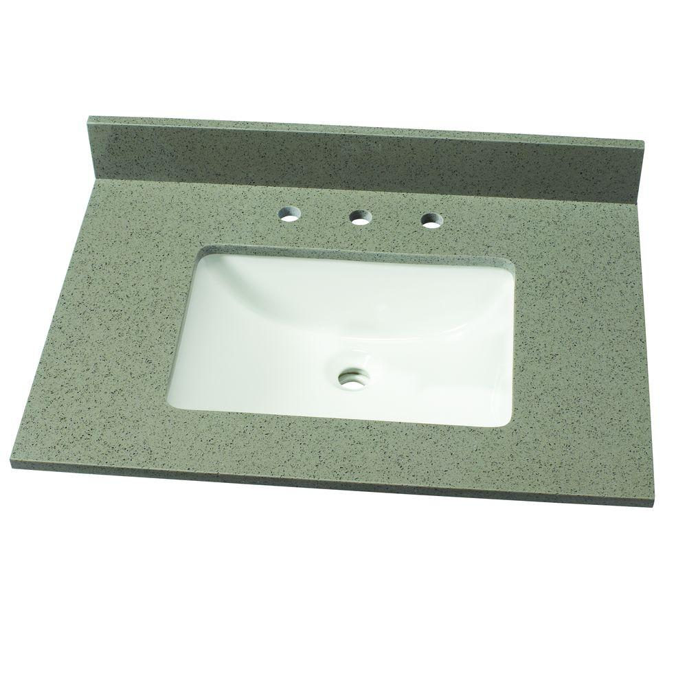 31 in. W Quartz Single Vanity Top in London Fog with