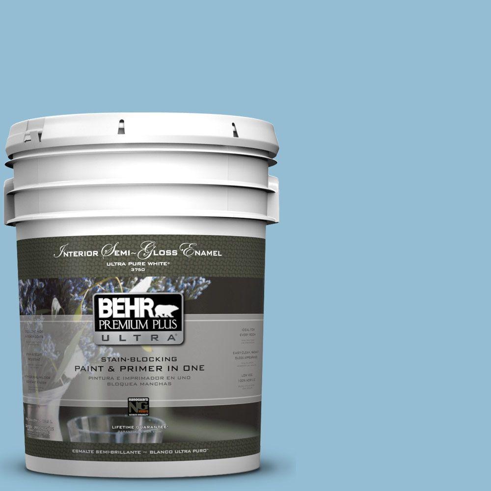 5 gal. #M500-3 Blue Chalk Color Semi-Gloss Enamel Interior Paint