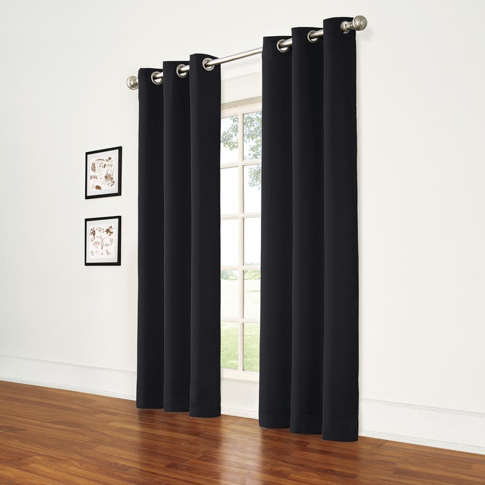 Thermal Black Room Darkening Window Curtain - 37 in. W x 95 in. L (2-Pack)