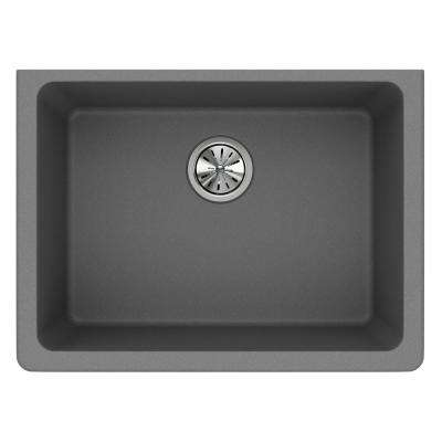 Quartz Classic Undermount Composite 25 in. Single Bowl Kitchen Sink in Greystone