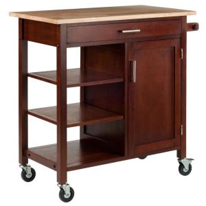 Winsome Wood Marissa Kitchen Cart in Walnut 94543 - The Home ...