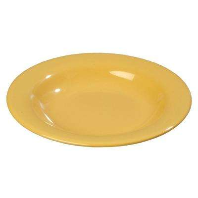 13 oz., 9.25 in. Diameter Wide Rim Melamine Pasta, Soup and Salad Bowl in Honey Yellow (Case of 24)