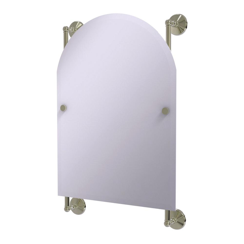 Monte Carlo Arched Top Frameless Rail Mounted Mirror in Polished Nickel