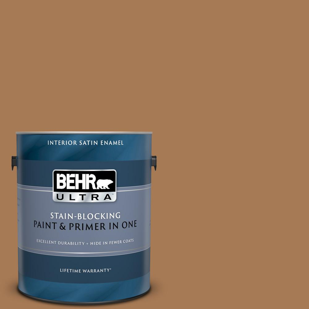 Behr Ultra 1 Gal S270 7 Antique Penny Satin Enamel Interior Paint And Primer In One 775301 The Home Depot