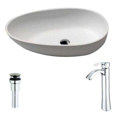 Trident Series 1-Piece Man Made Stone Vessel Sink in Matte White with Harmony Faucet in Polished Chrome