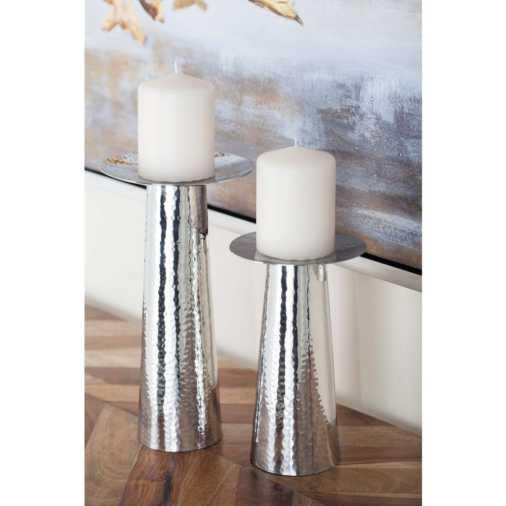 Silver-Finished Stainless Steel Cone-Shaped Candle Holders (Set of 3)