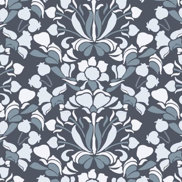 Mitchell Black Nomad Collection Sanpdragon in Blues and Greys Removable and Repositionable Wallpaper