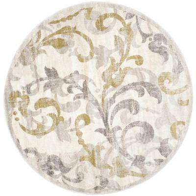 Amherst Ivory/Light Gray 9 ft. x 9 ft. Indoor/Outdoor Round Area Rug