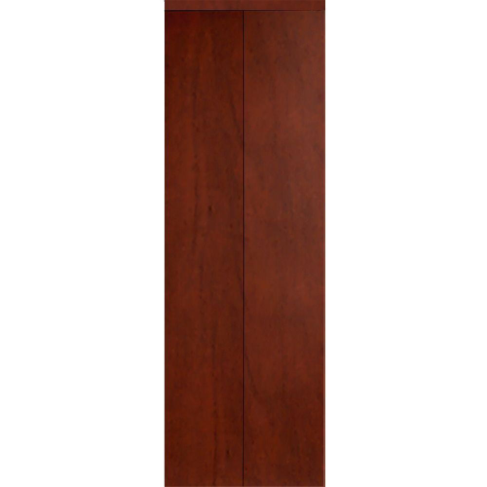 Impact Plus 60 in. x 80 in. Smooth Flush Solid Core Cherry MDF Interior Closet Bi-Fold Door with Matching Trim