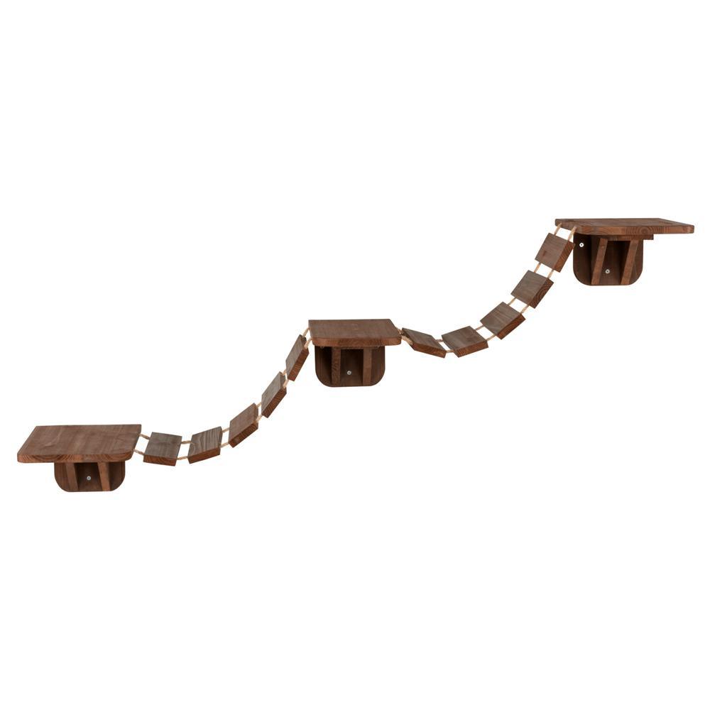 Brown Wall Mounted Cat Bridge with 3-Platforms Linked by Bridge