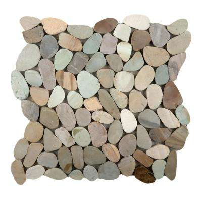 Venetian Pebbles Pastel Honed 11.81 in. x 11.81 in. x 11 mm Pebbles Mesh-Mounted Mosaic Tile (1 sq. ft.)