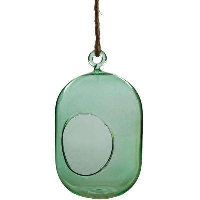 Mika 3.5 in. x 6.5 in. Mint Glass Hanging Capsule Terrarium with Rope