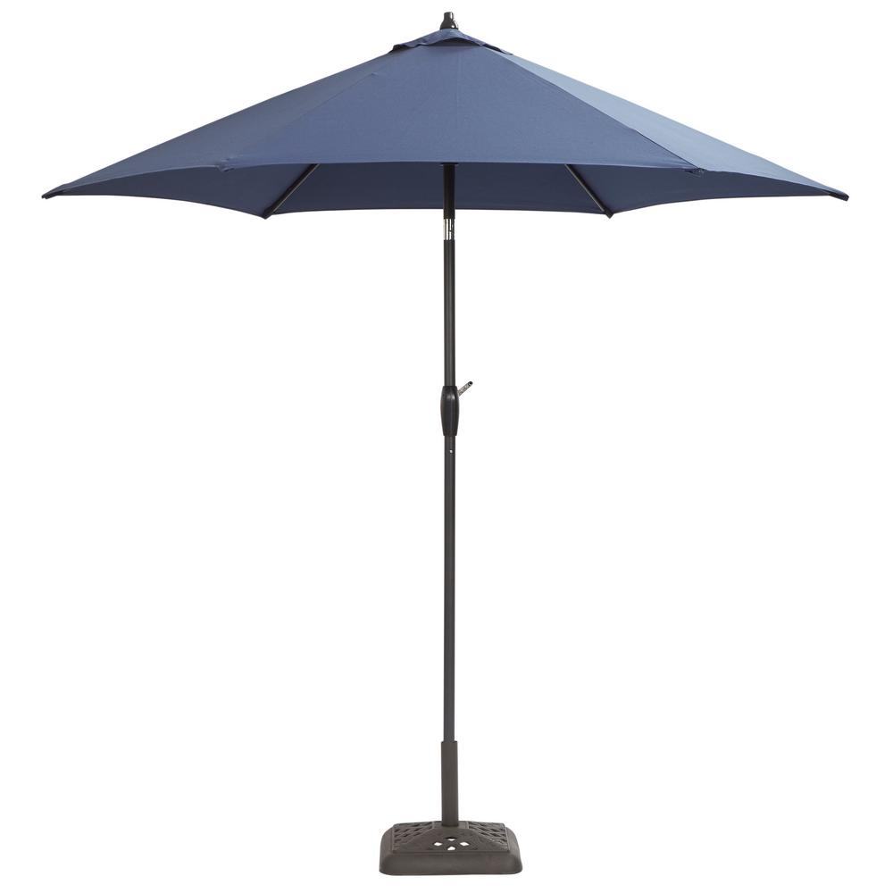 Hampton bay 9 ft aluminum patio umbrella in midnight with for Balcony umbrella