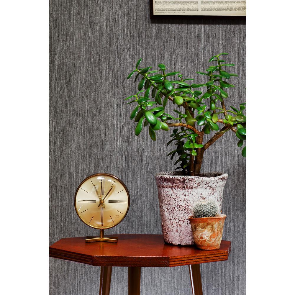 56.4 sq. ft. Hera Black Shadow Textured Wallpaper