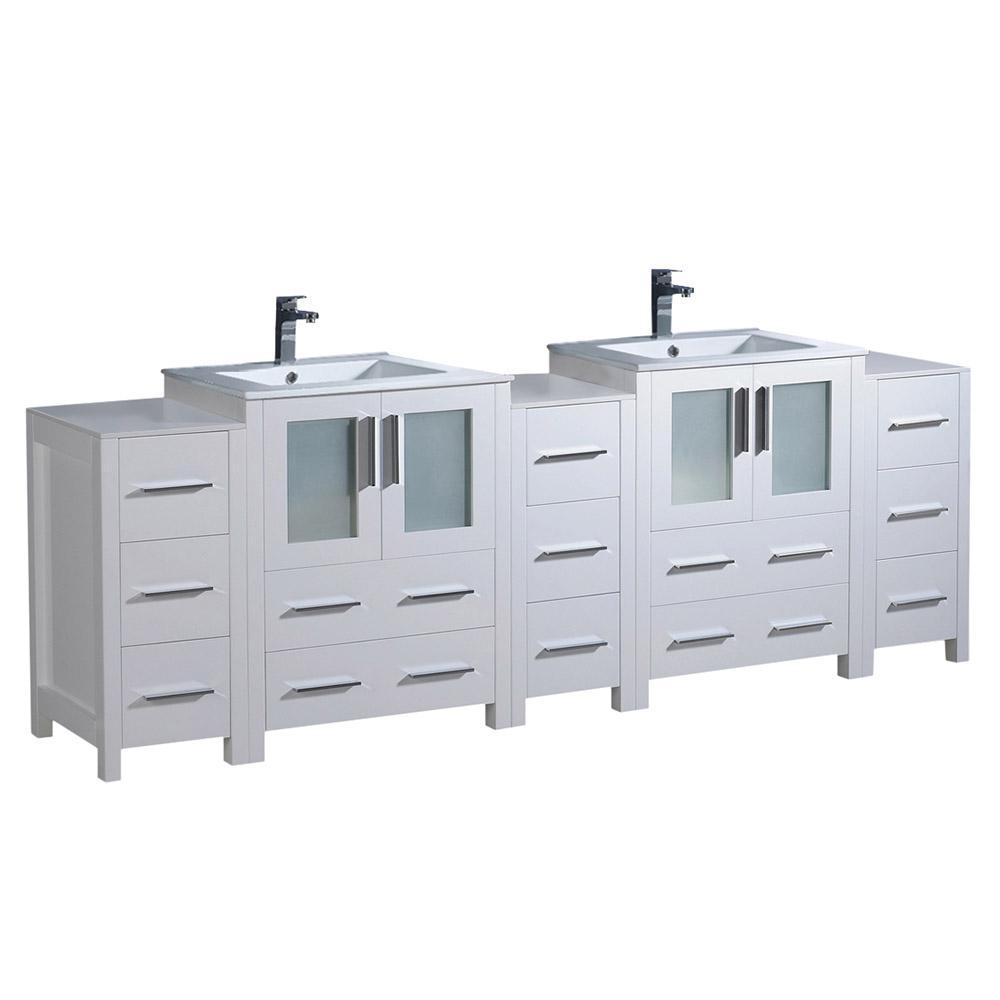 Torino 84 in. Double Vanity in White with Ceramic Vanity Top in White with White Basin and Side Cabinets