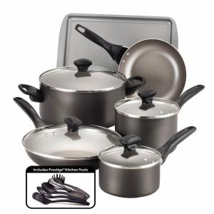 Click here to buy Farberware 15-Piece Pewter Cookware Set with Lids by Farberware.