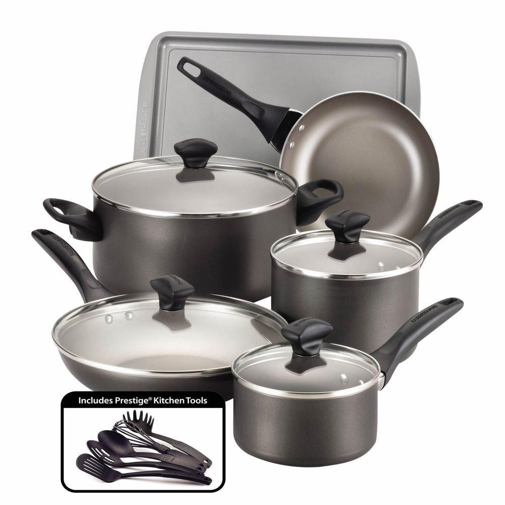 Dishwasher Safe 15-Piece Aluminum Nonstick Cookware Set in Pewter