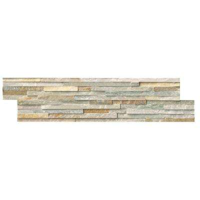 Golden Honey Pencil Ledger Panel 6 in. x 24 in. Natural Quartzite Wall Tile (8 cases / 64 sq. ft. / pallet)