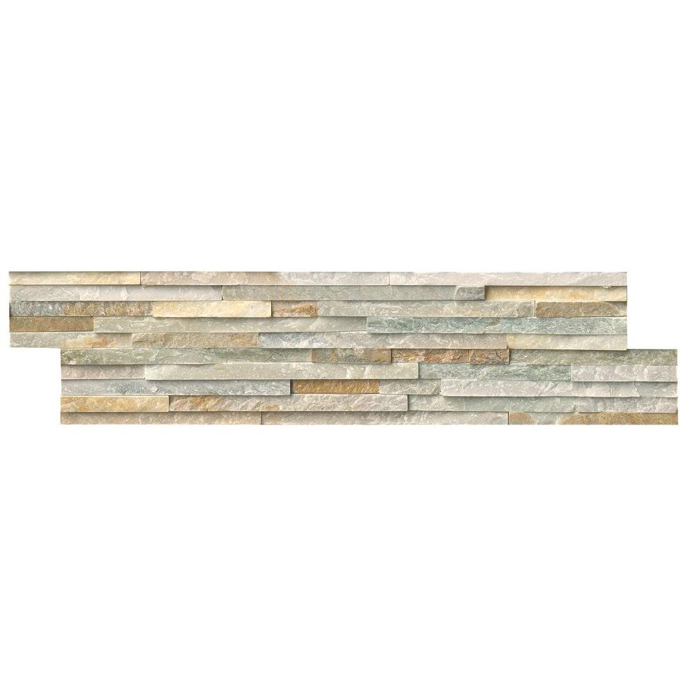 Quartz tile flooring the home depot golden honey pencil ledger panel 6 in x 24 in natural quartzite wall tile dailygadgetfo Gallery