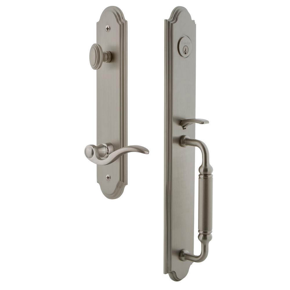 Grandeur Arc Satin Nickel 1-Piece Door Handleset with C Grip and Bellagio Lever