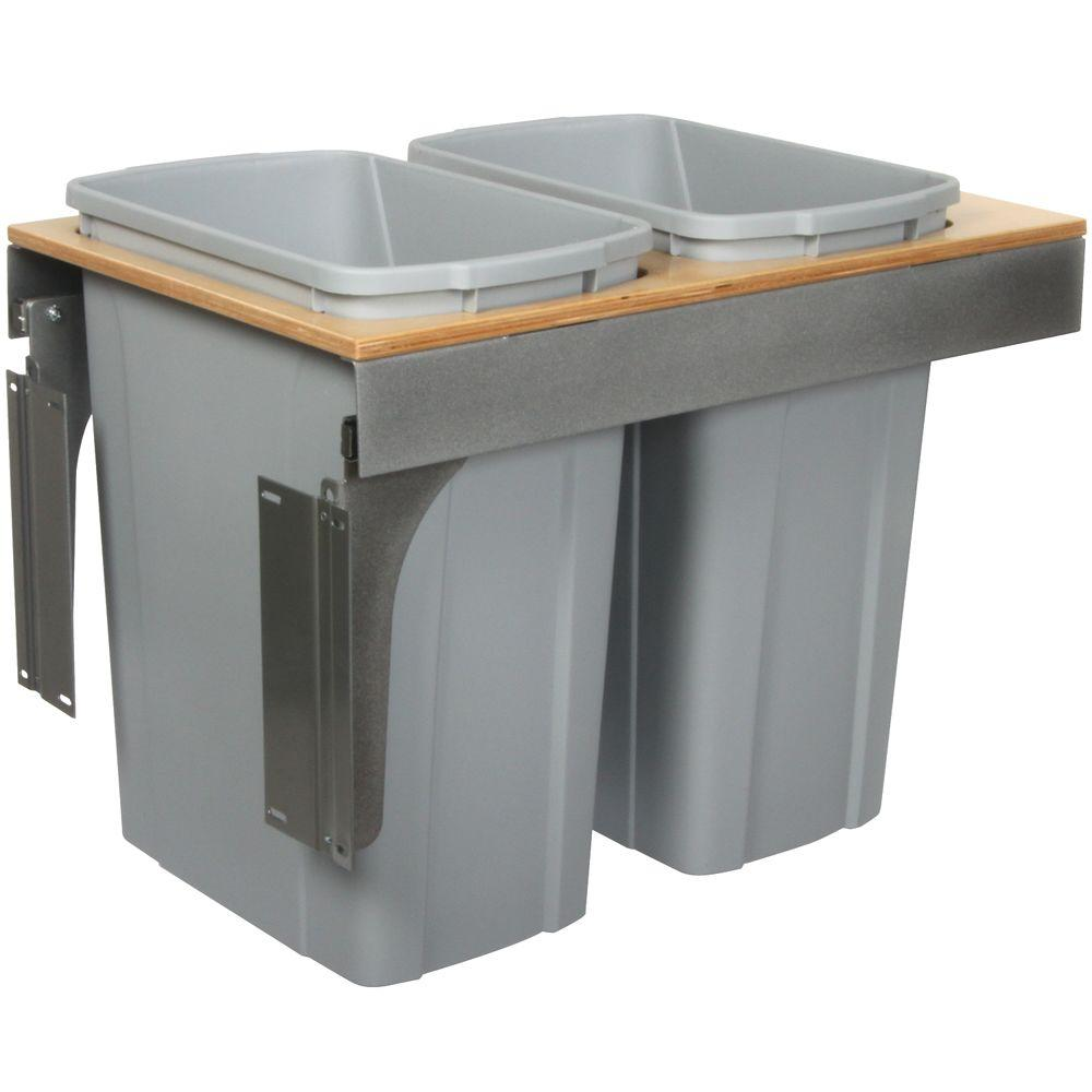 Knape & Vogt 17.5 in. x 15 in. x 23.19 in. In Cabinet Pull Out Soft Close Trash Can-DISCONTINUED