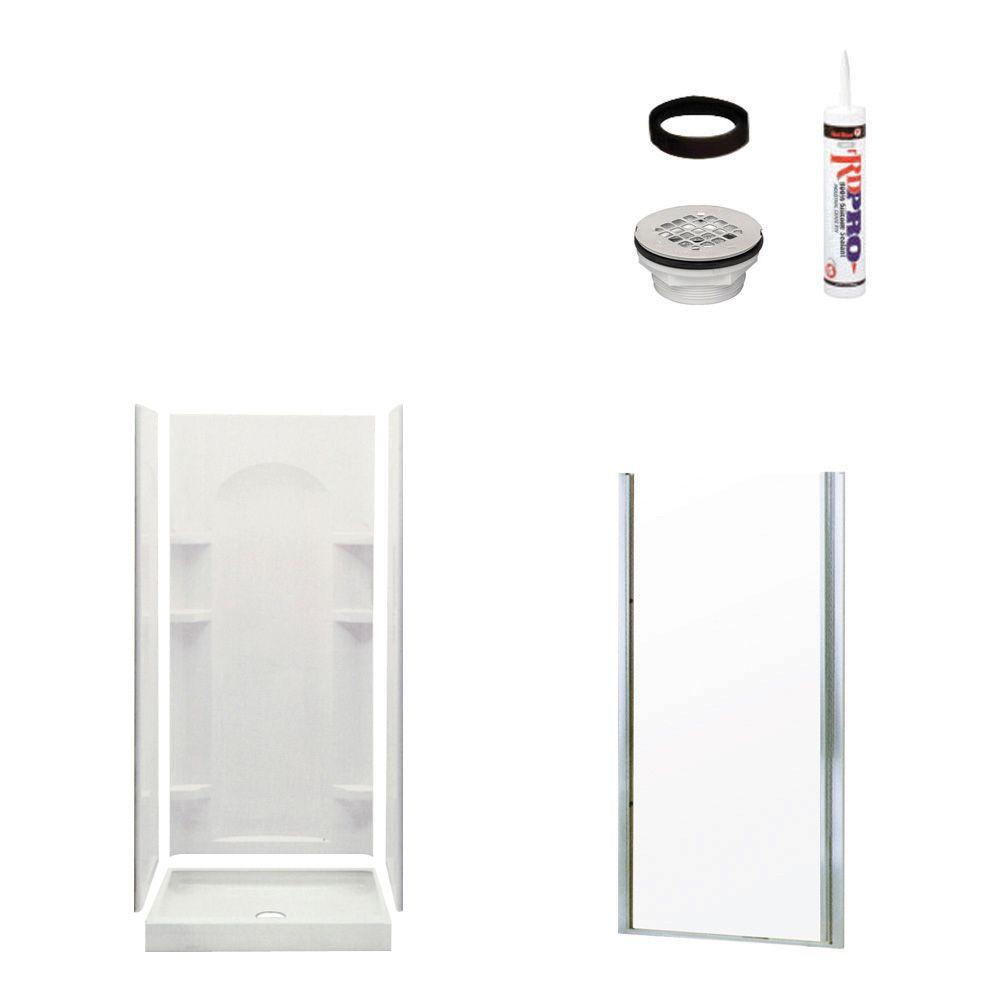 STERLING Ensemble Curve 34 in. x 36 in. x 75-3/4 in. Shower Kit with Shower Door in White/Chrome-DISCONTINUED