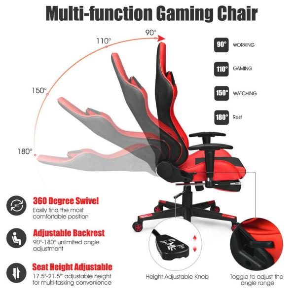 Costway Red Massage Gaming Chair Upholstery Reclining Racing