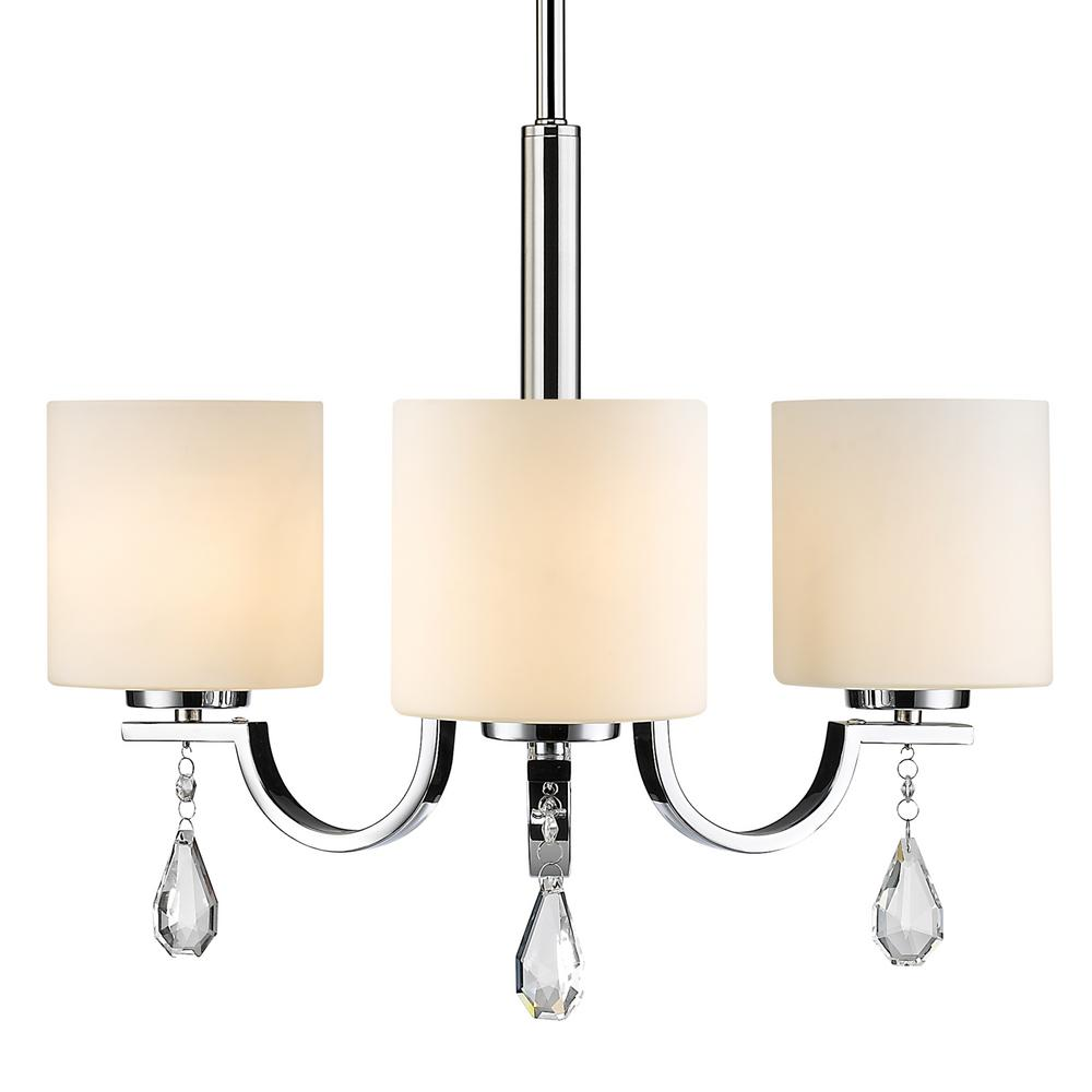 Evette 3-Light Chrome Chandelier with Opal Glass Shade