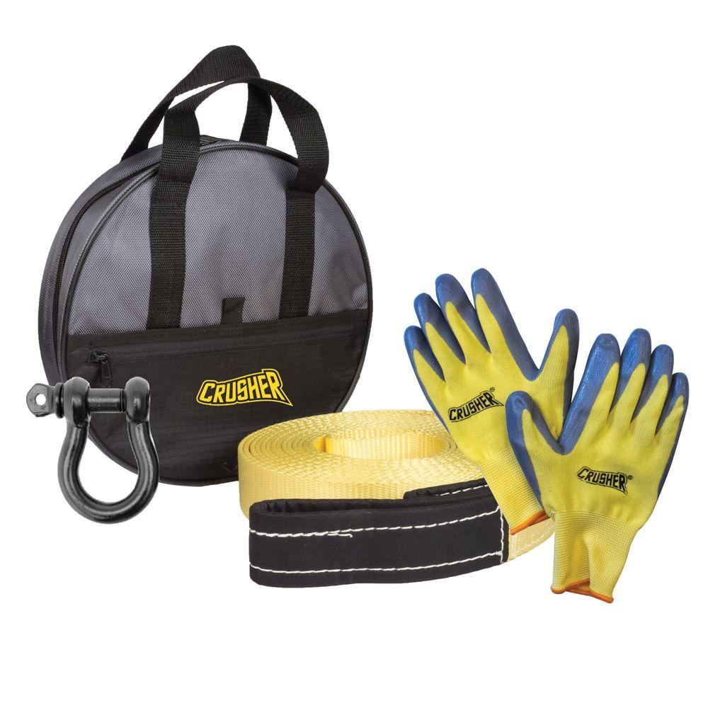 Crusher Emergency Recovery 30 ft. Tow Rope Strap, D-Ring, Gloves & High Quality Black Storage Bag