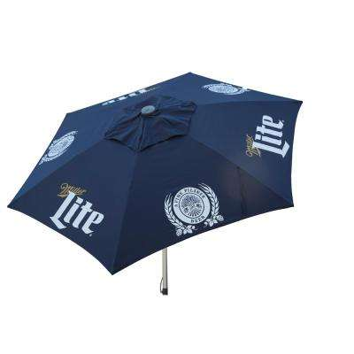 Miller Lite 8.5 ft. Aluminum Tilt Patio Umbrella in Navy Polyester