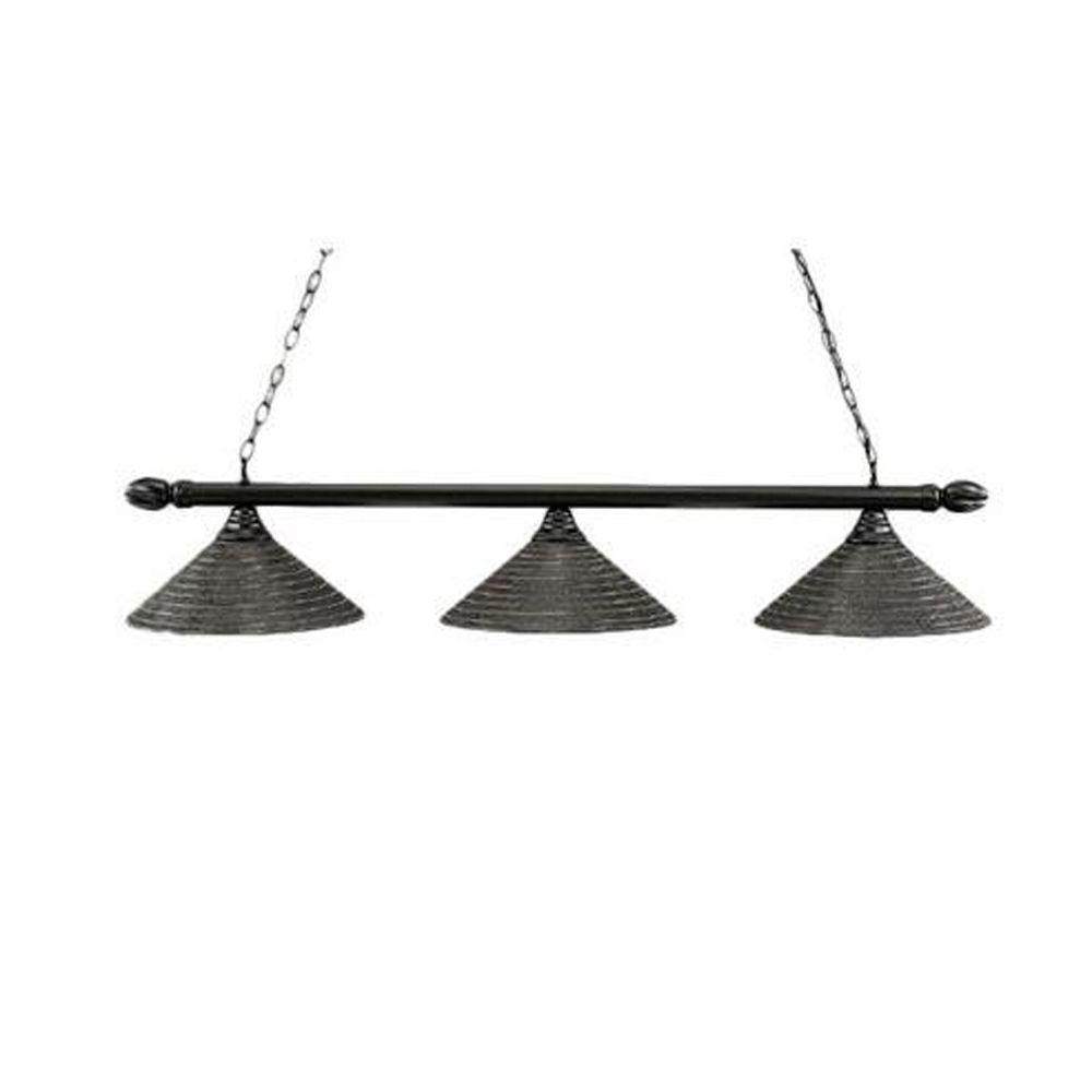 Filament Design Concord 3 Light Ceiling Black Powder Coat Incandescent Island Pendant-DISCONTINUED