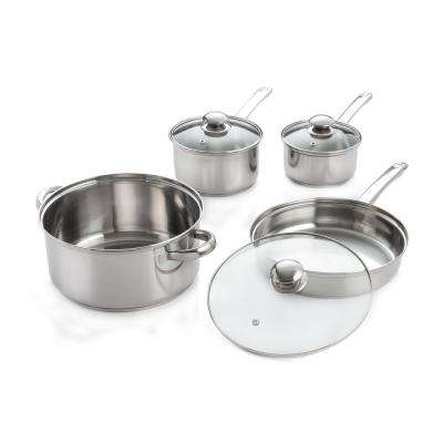 7-Piece Stainless Steel Cookware Set with Lids and Encapsulated Base